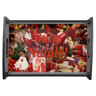 ¡Buon Natale! Felices Navidad en el rf italiano Bandeja