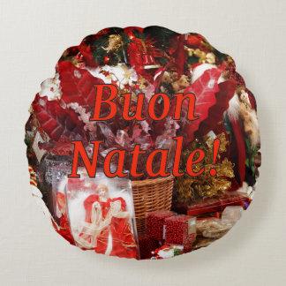 ¡Buon Natale! Felices Navidad en el rf italiano Cojín Redondo