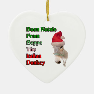 Buon Natale From Beppe The Italian Donkey Double-Sided Heart Ceramic Christmas Ornament