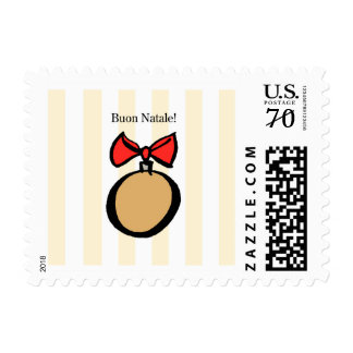 Buon Natale Gold Ornament Postage Stamp Yellow