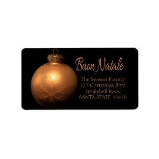 Buon Natale Golden ornament label