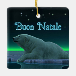 Buon Natale - Ice Edge Polar Bear Ceramic Ornament