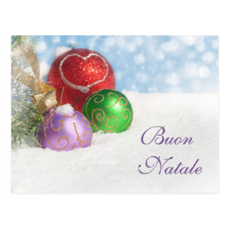 Buon Natale in Christmas Colors Postcard