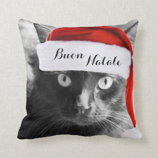 Buon Natale, Italian Cat Christmas Pillow