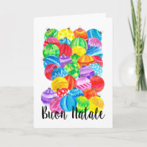 Buon Natale Italian Christmas baubles, watercolor Holiday Card