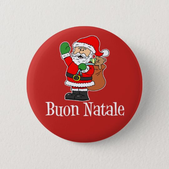 How To Say Merry Christmas In Italian.Buon Natale Italian Christmas Santa Red Button