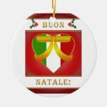 Buon Natale Italian Flag Heart - Round Ornament