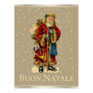 Buon Natale Italian Vintage Santa Gold Stars Postcard