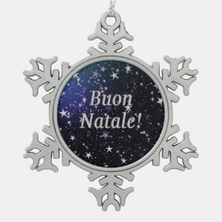 Buon Natale! Merry Christmas in Italian wf Snowflake Pewter Christmas Ornament