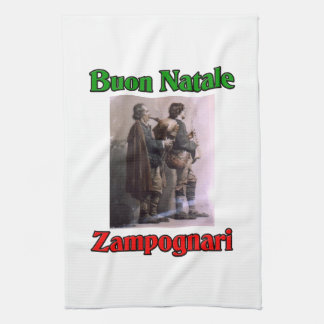 Buon Natale (Merry Christmas) Zampognari Kitchen Towel