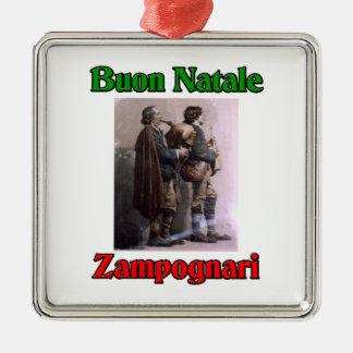 Buon Natale (Merry Christmas) Zampognari Square Metal Christmas Ornament