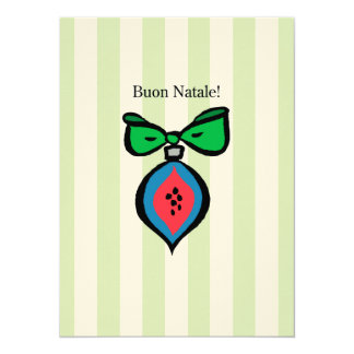 Buon Natale Ornament 5.5x7.5 Felt Ecru Invitation