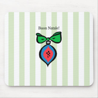 Buon Natale Red/Blue Ornament Mousepad Green