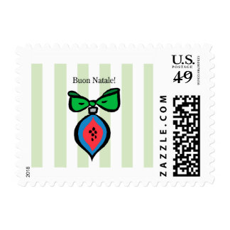 Buon Natale Red/Blue Ornament Postage Stamp