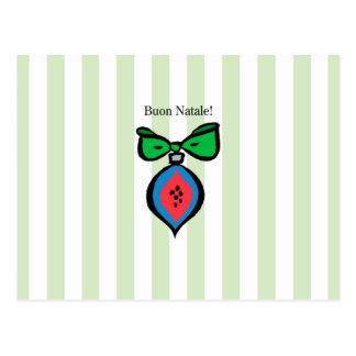 Buon Natale Red/Blue Ornament Postcard Green