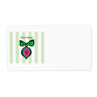 Buon Natale Red/Blue Ornament Shipping Label Green
