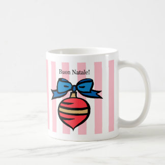Buon Natale Red Christmas Ornament Mug Pink