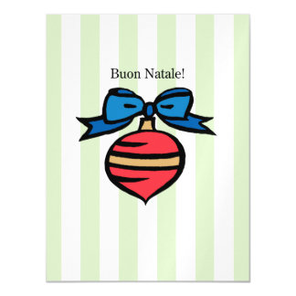 Buon Natale Red Ornament Thin Magnetic Postcard GR