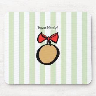 Buon Natale Round Ornament Mousepad Green
