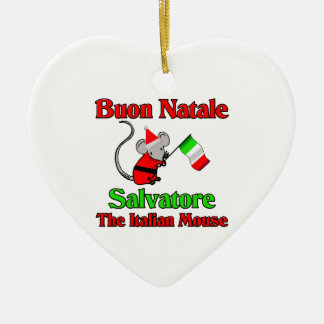 Buon Natale Salvatore The Italian Mouse Double-Sided Heart Ceramic Christmas Ornament