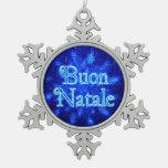 Buon Natale - Snowburst Adorno De Peltre En Forma De Copo De Nieve