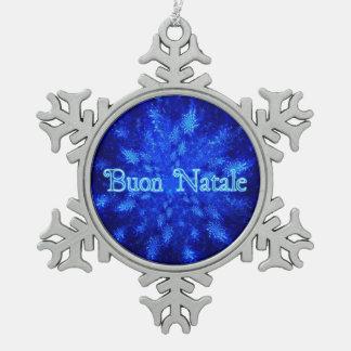 Buon Natale - Snowburst Snowflake Pewter Christmas Ornament