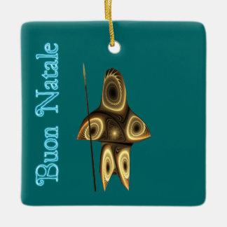 Buon Natale - Tuvaaq Fractal Inuit Hunter Ceramic Ornament