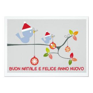"Buon Natale - Uccellini Invitación 5"" X 7"""