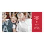 Buon transparente Natale en tarjeta roja de la fot Tarjeta Fotografica