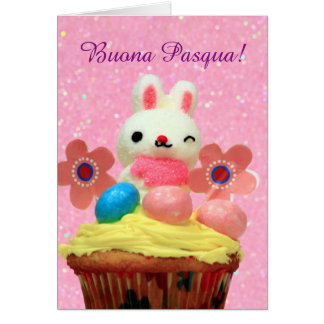 Buona Pasqua Bunny and Eggs greeting card