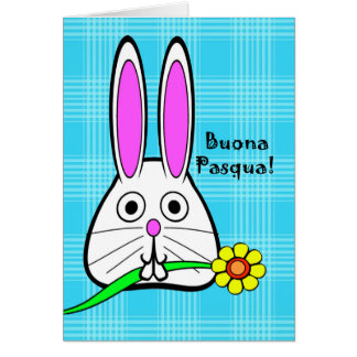 Buona Pasqua, Easter in Italian, Cute Bunny Card