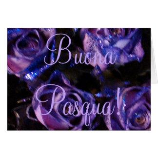 Buona Pasqua Italian Happy Easter Purple Roses Card