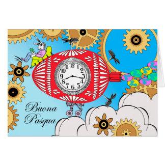 Buona Pasqua, Steampunk Easter in Italian, Flying Card