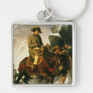 'Buonaparte Crossing the Alps' Silver-Colored Square Keychain