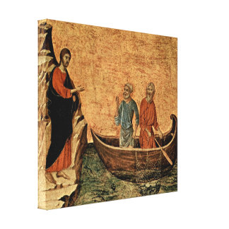 Buoninsegna - Calling of apostles Peter and Andrew Stretched Canvas Prints