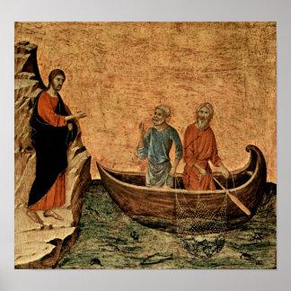 Buoninsegna - llamada de los apóstoles Peter y And Poster