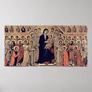 Buoninsegna - los ángeles enthroned Madonna y al n Póster