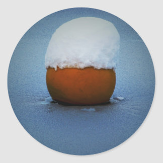 Buoy in icy water classic round sticker