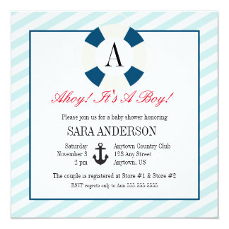 Buoy with Monogram, Nautical Baby Boy Shower Personalized Invites