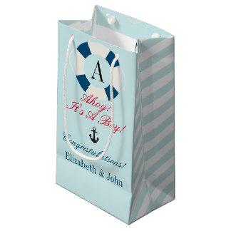 Buoy with Monogram, Nautical New Baby Boy Small Gift Bag