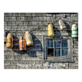 Buoys on a Wall, Peggy's Cove, Nova Scotia. Postcard