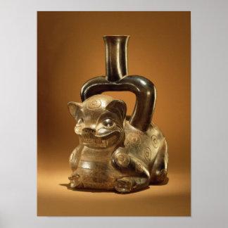 Buque con el puma, cultura de Chavin, c.90 A.C. Póster
