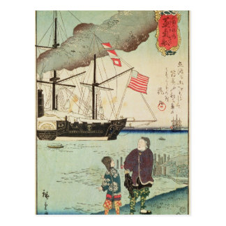 Buque de guerra americano en un puerto japonés tarjetas postales