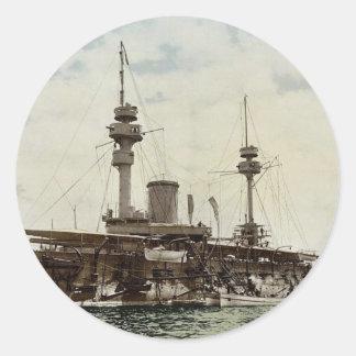 Buque de guerra, obra clásica Photochrom de Argel, Pegatina Redonda
