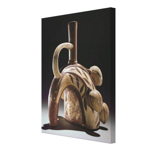 Buque de la cerámica de una rana que sube un cacao impresion de lienzo