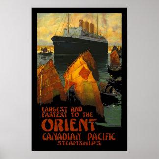 Buque de vapor de Oriente de la impresión del post Poster