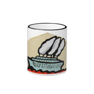 Buque de vapor del arte popular taza