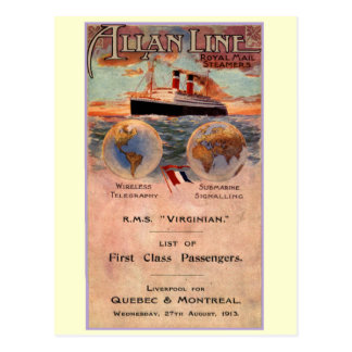 Buque de vapor del Virginian del RMS Postal