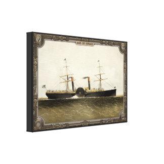 Buque de vapor en el mar. Edad del vapor #009. Impresión En Lona