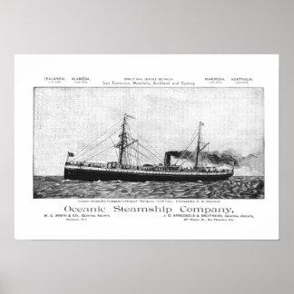 Buque de vapor oceánico Mariposa a Hawaii, 1890 Posters